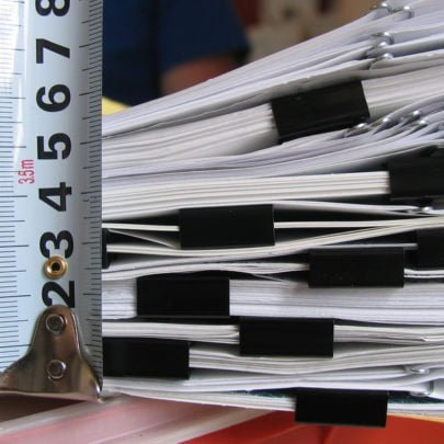 Close up of paperwork